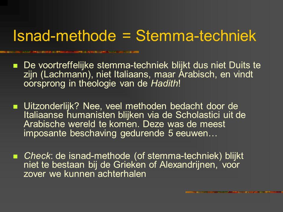 Isnad-methode = Stemma-techniek