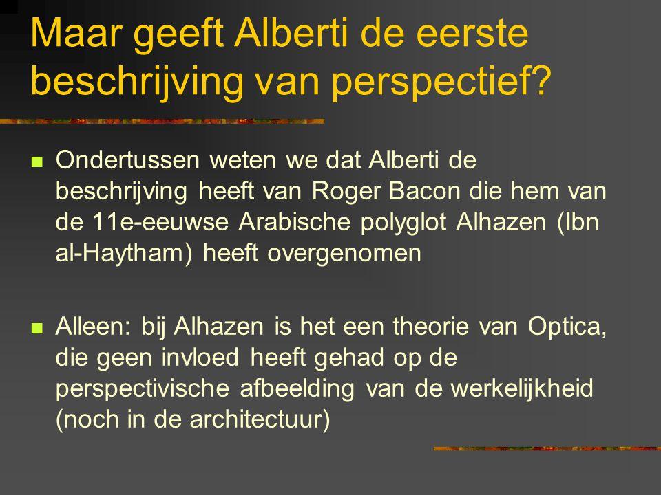 Maar geeft Alberti de eerste beschrijving van perspectief