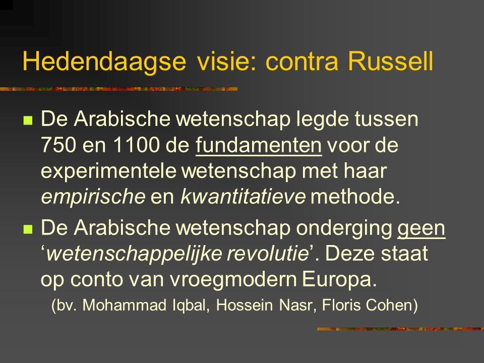 Hedendaagse visie: contra Russell