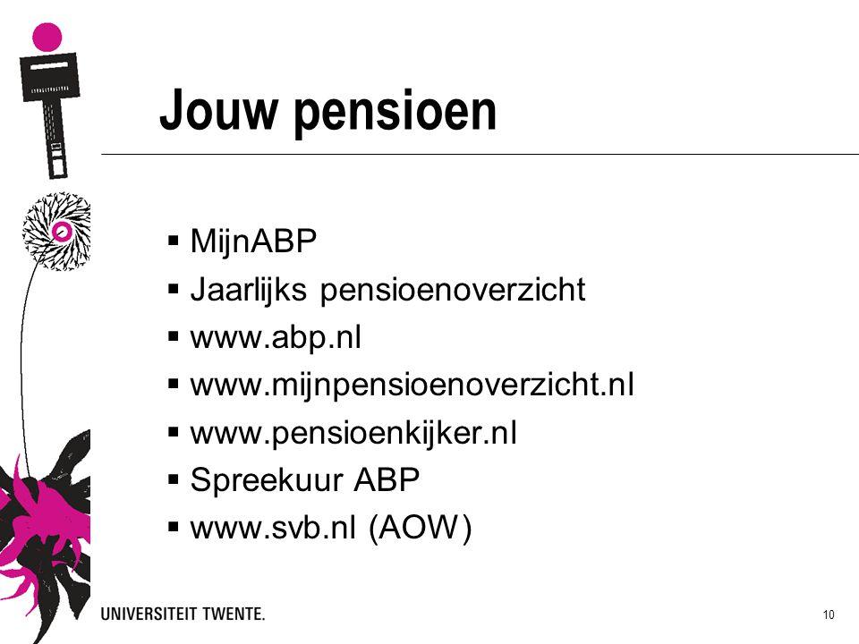Jouw pensioen MijnABP Jaarlijks pensioenoverzicht www.abp.nl