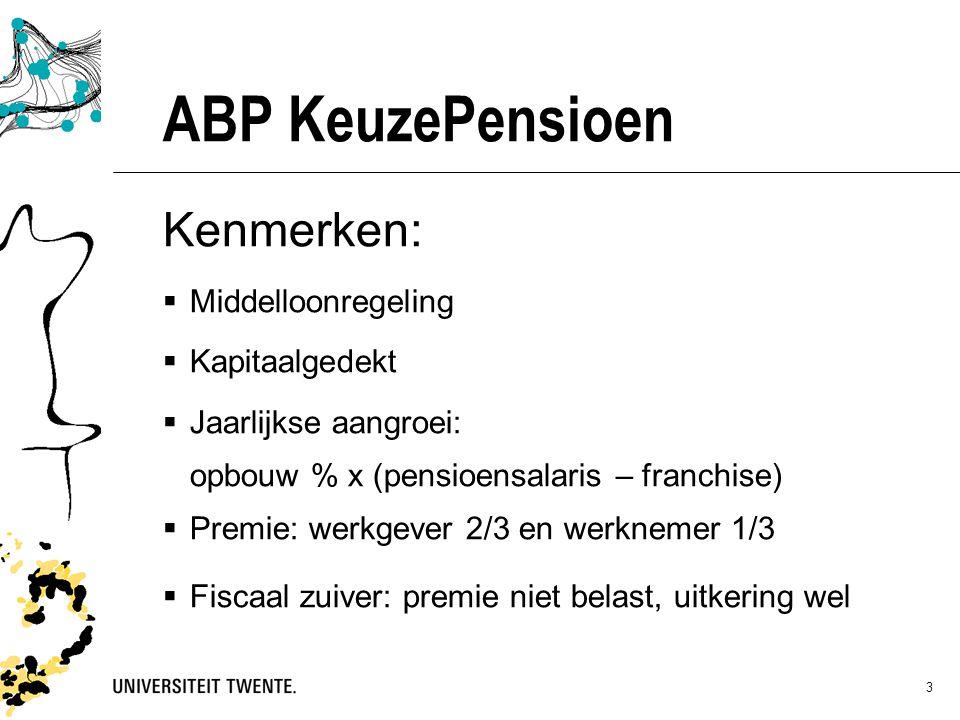 ABP KeuzePensioen Kenmerken: Middelloonregeling Kapitaalgedekt