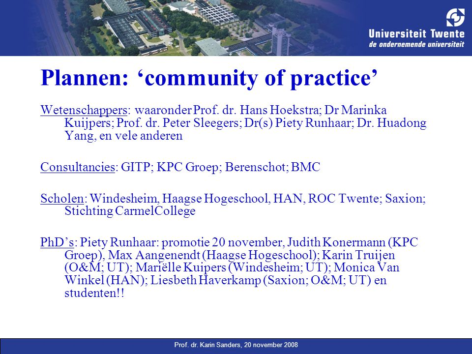 Plannen: 'community of practice'