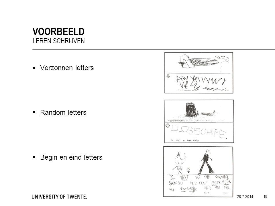 Voorbeeld Leren schrijven Verzonnen letters Random letters
