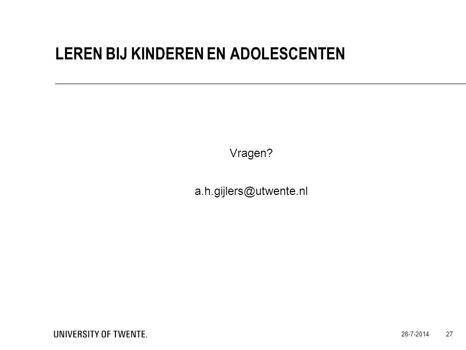 Vragen a.h.gijlers@utwente.nl