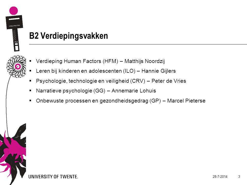 B2 Verdiepingsvakken Verdieping Human Factors (HFM) – Matthijs Noordzij. Leren bij kinderen en adolescenten (ILO) – Hannie Gijlers.