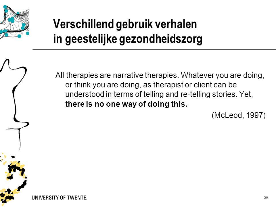 Verschillend gebruik verhalen in geestelijke gezondheidszorg