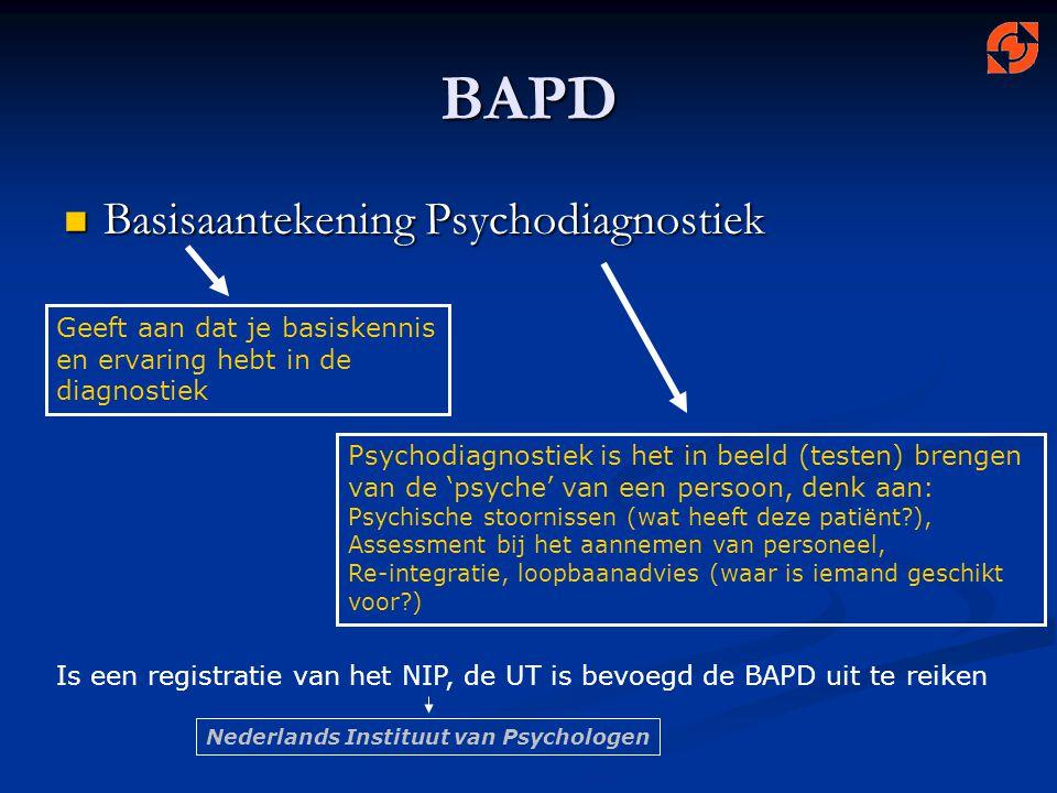 BAPD Basisaantekening Psychodiagnostiek Geeft aan dat je basiskennis