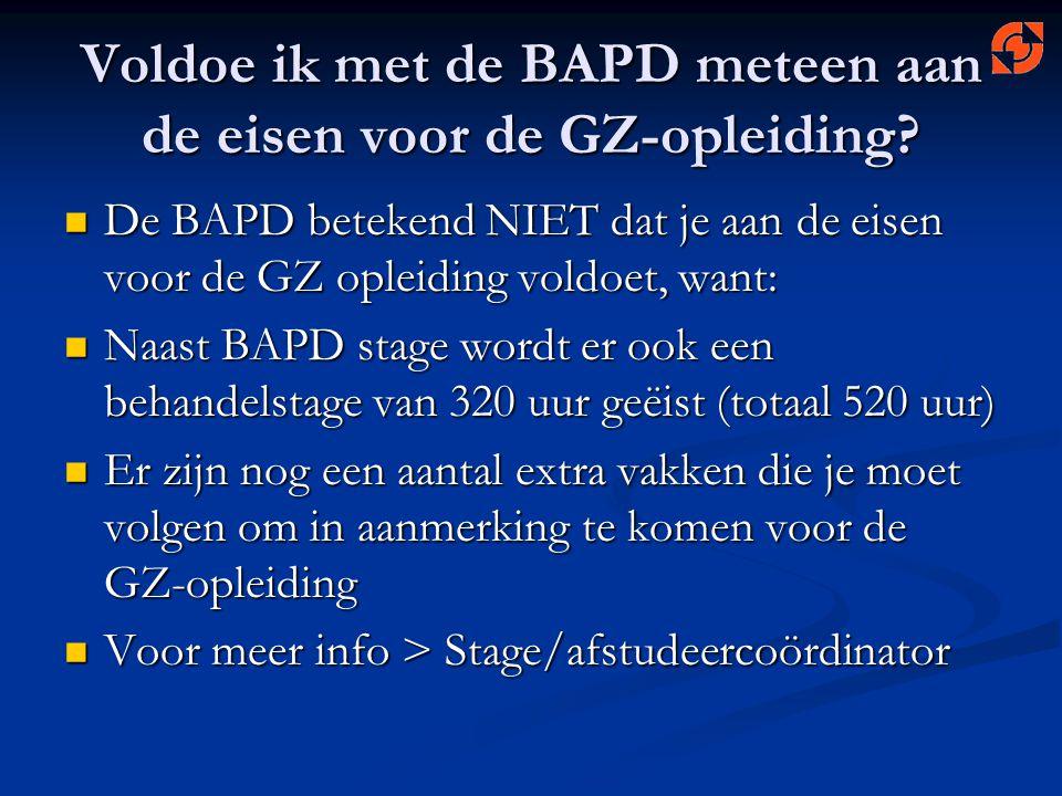 Voldoe ik met de BAPD meteen aan de eisen voor de GZ-opleiding