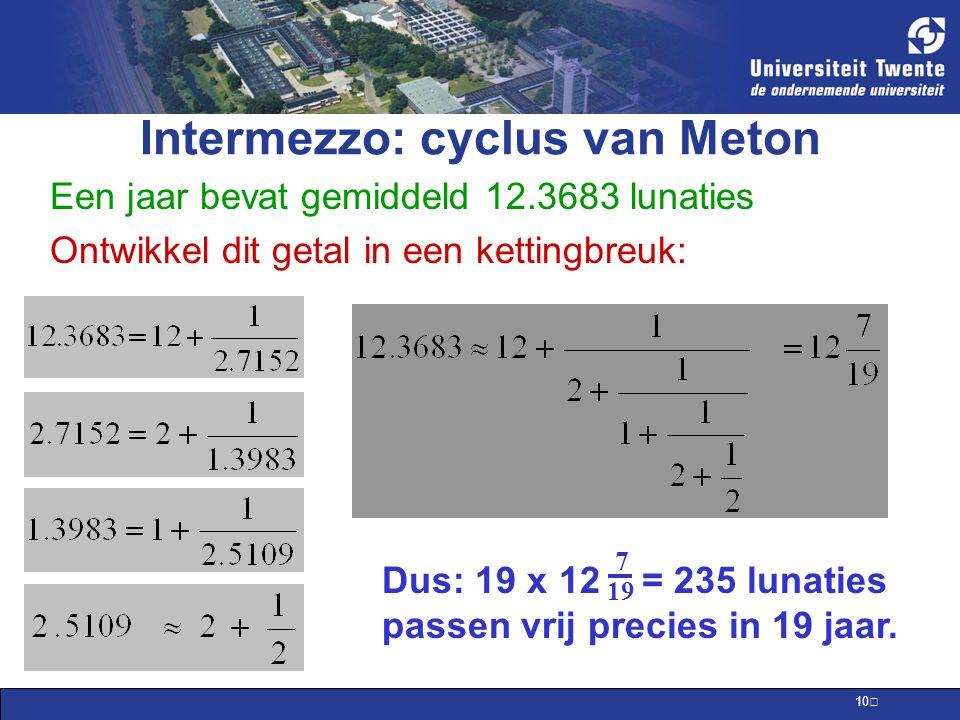 Intermezzo: cyclus van Meton