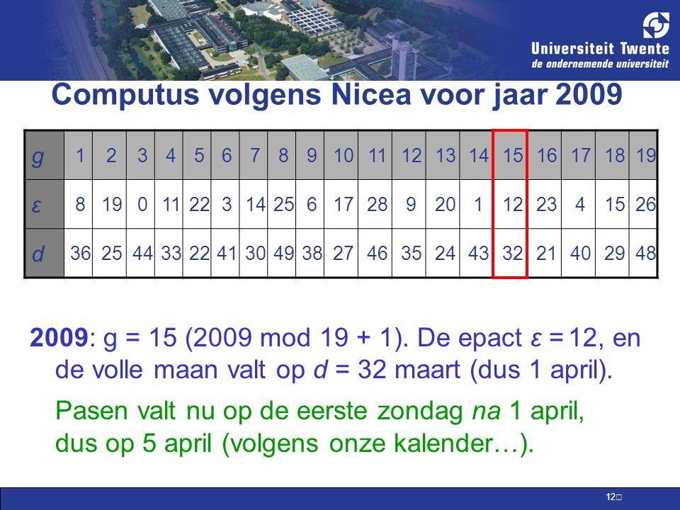 Computus volgens Nicea voor jaar 2009