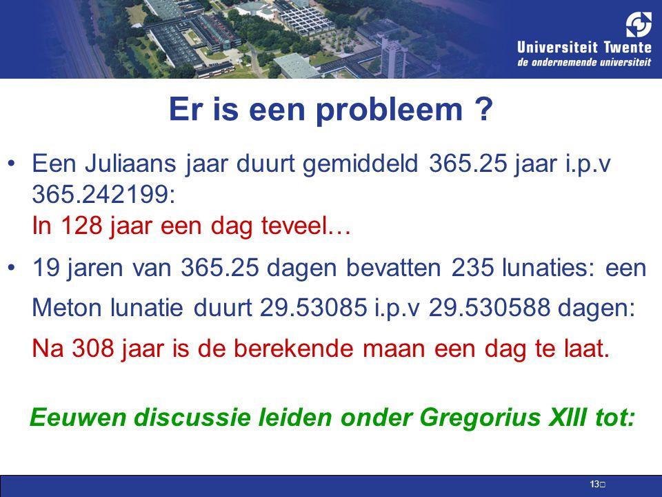 Er is een probleem Een Juliaans jaar duurt gemiddeld 365.25 jaar i.p.v 365.242199: In 128 jaar een dag teveel…