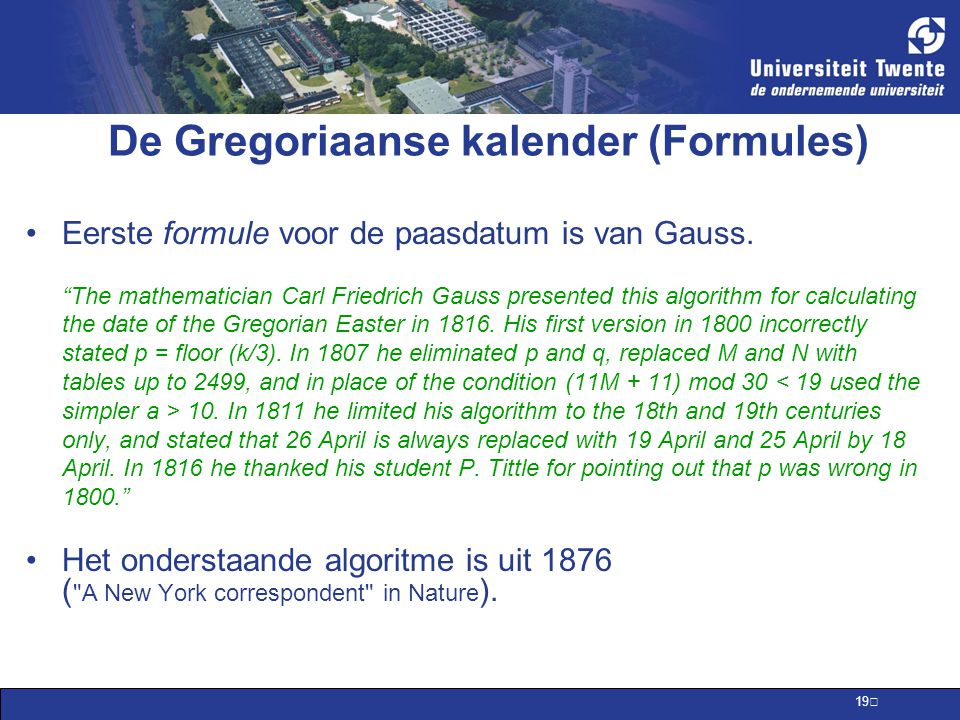 De Gregoriaanse kalender (Formules)