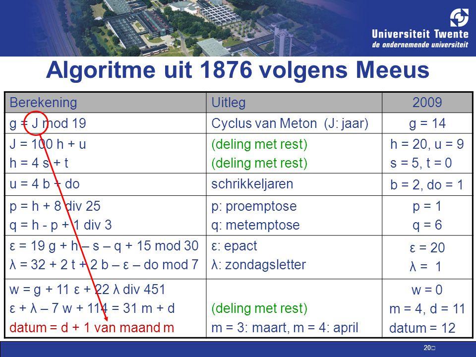 Algoritme uit 1876 volgens Meeus