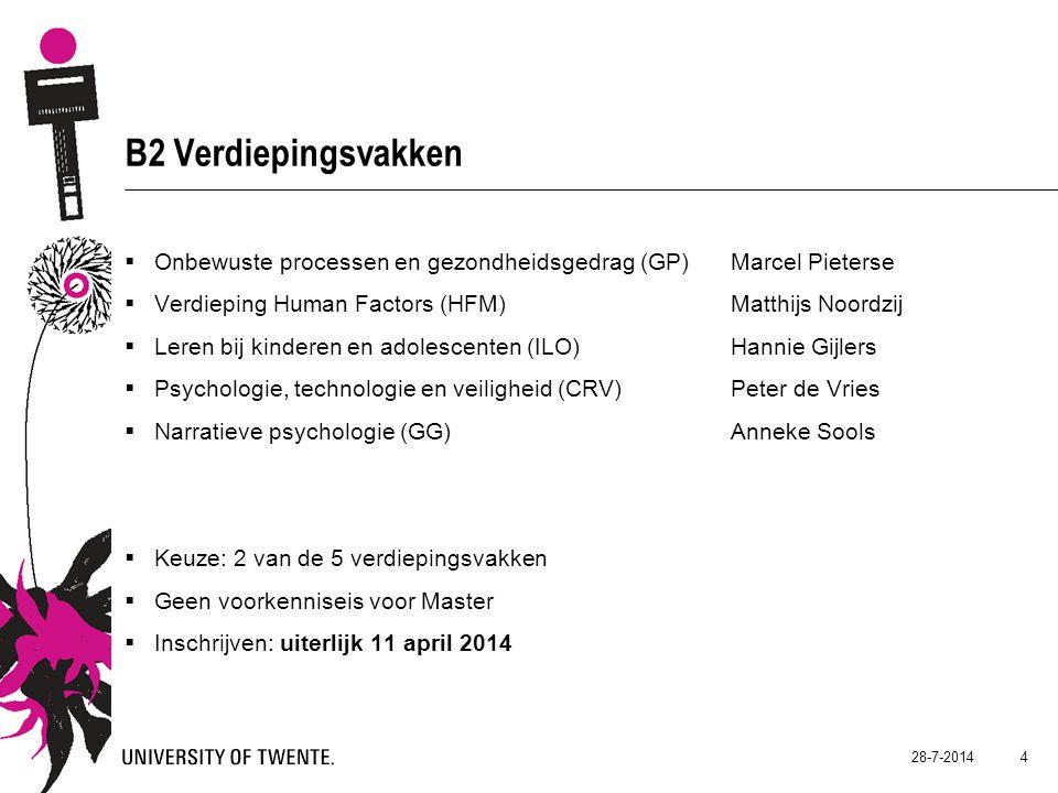 B2 Verdiepingsvakken Onbewuste processen en gezondheidsgedrag (GP) Marcel Pieterse. Verdieping Human Factors (HFM) Matthijs Noordzij.