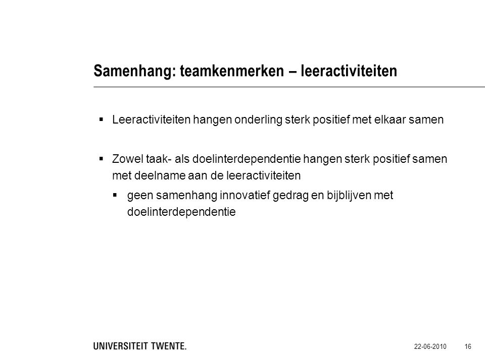Samenhang: teamkenmerken – leeractiviteiten