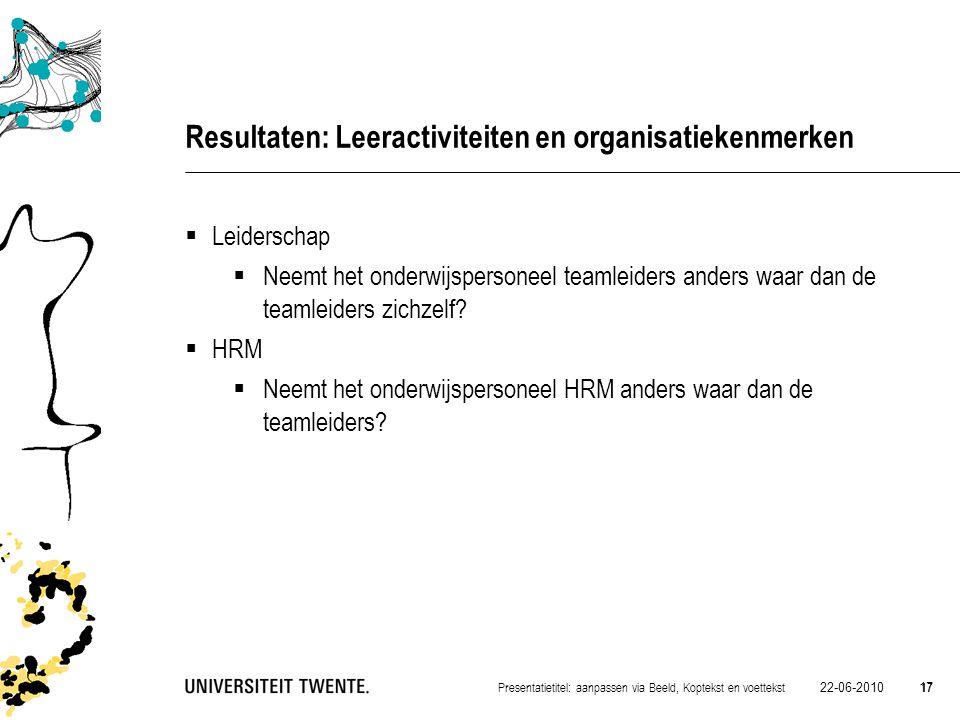 Resultaten: Leeractiviteiten en organisatiekenmerken