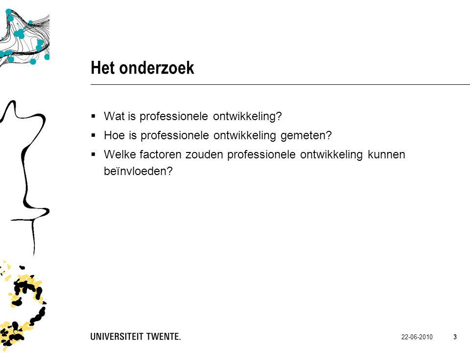 Het onderzoek Wat is professionele ontwikkeling