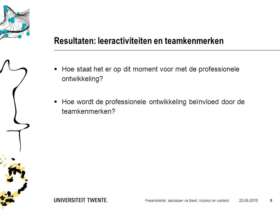 Resultaten: leeractiviteiten en teamkenmerken