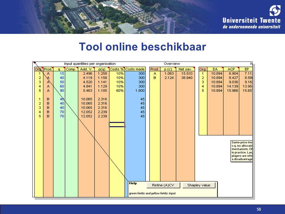 Tool online beschikbaar