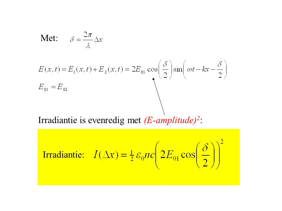 Met: Irradiantie is evenredig met (E-amplitude)2: Irradiantie: