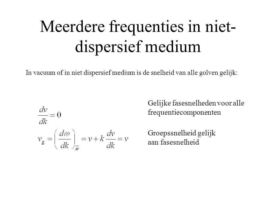 Meerdere frequenties in niet-dispersief medium