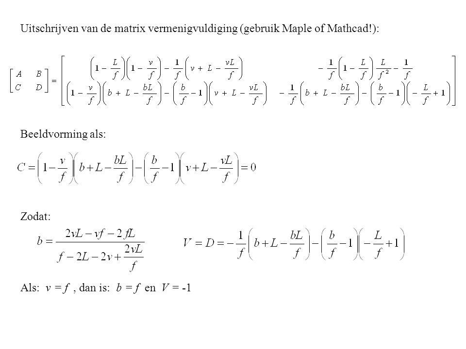 Uitschrijven van de matrix vermenigvuldiging (gebruik Maple of Mathcad
