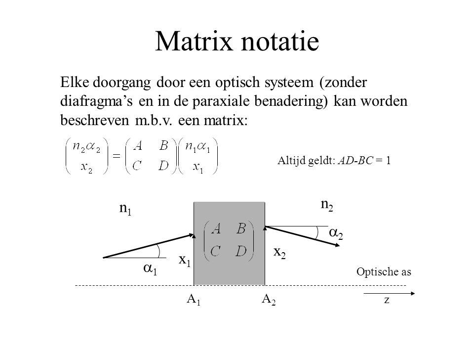 Matrix notatie Elke doorgang door een optisch systeem (zonder diafragma's en in de paraxiale benadering) kan worden beschreven m.b.v. een matrix: