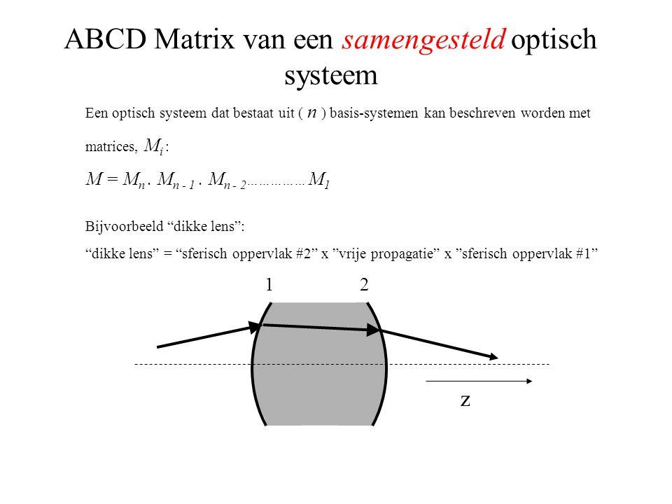 ABCD Matrix van een samengesteld optisch systeem