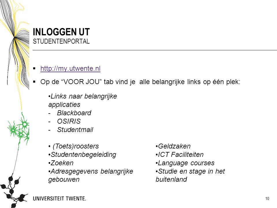 Inloggen UT Studentenportal http://my.utwente.nl