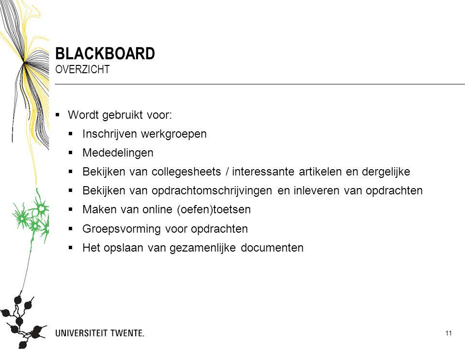 Blackboard Overzicht Wordt gebruikt voor: Inschrijven werkgroepen
