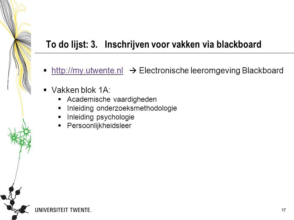 To do lijst: 3. Inschrijven voor vakken via blackboard
