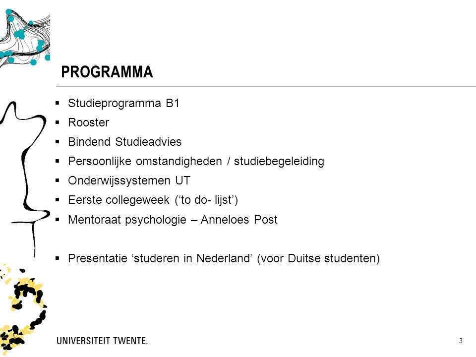 PROGRAMMA Studieprogramma B1 Rooster Bindend Studieadvies