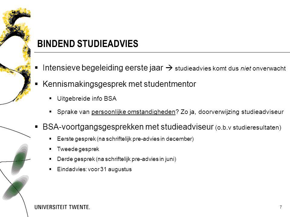 BINDEND STUDIEADVIES Intensieve begeleiding eerste jaar  studieadvies komt dus niet onverwacht. Kennismakingsgesprek met studentmentor.