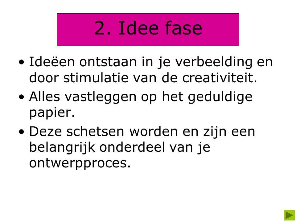 2. Idee fase Ideëen ontstaan in je verbeelding en door stimulatie van de creativiteit. Alles vastleggen op het geduldige papier.