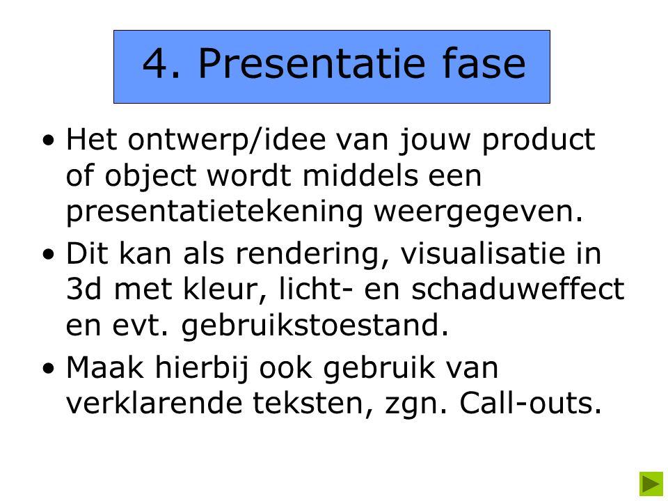 4. Presentatie fase Het ontwerp/idee van jouw product of object wordt middels een presentatietekening weergegeven.