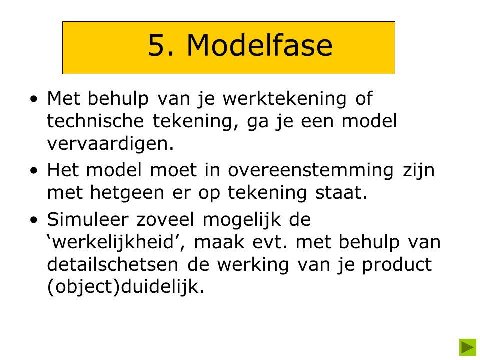 5. Modelfase Met behulp van je werktekening of technische tekening, ga je een model vervaardigen.
