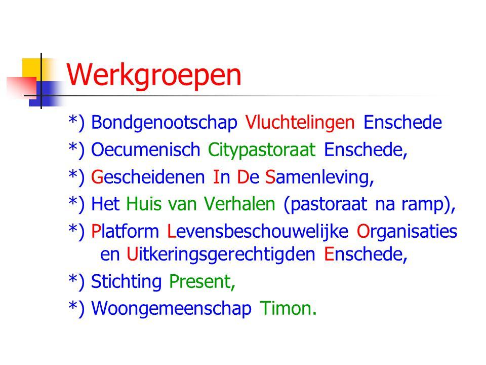 Werkgroepen *) Bondgenootschap Vluchtelingen Enschede