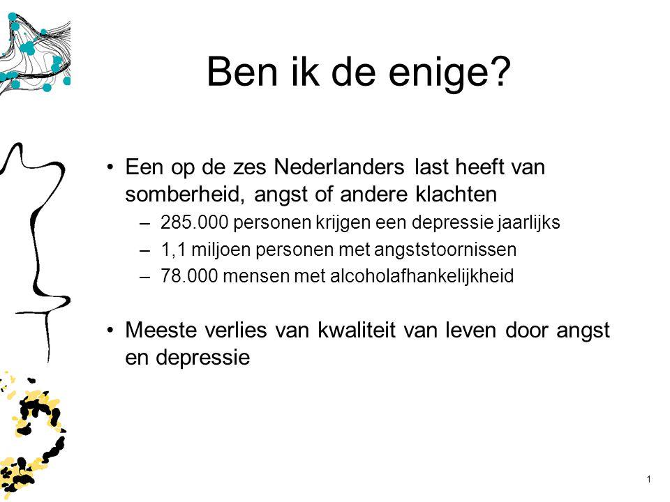 Ben ik de enige Een op de zes Nederlanders last heeft van somberheid, angst of andere klachten. 285.000 personen krijgen een depressie jaarlijks.