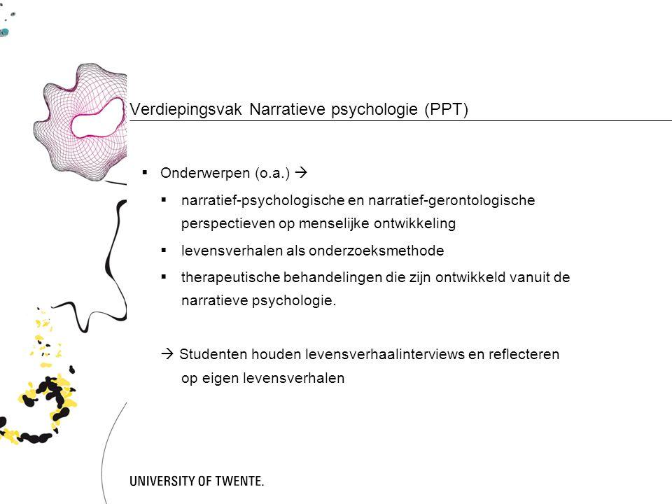Verdiepingsvak Narratieve psychologie (PPT)