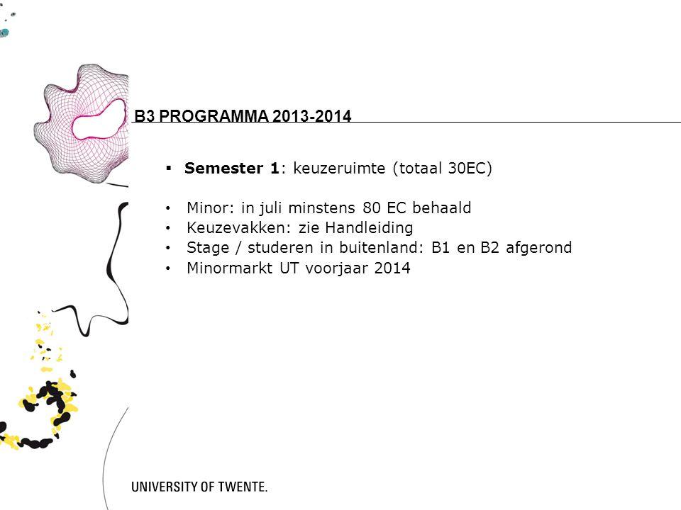 B3 PROGRAMMA 2013-2014 15 Semester 1: keuzeruimte (totaal 30EC)