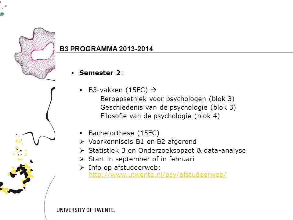 B3 PROGRAMMA 2013-2014 16 Semester 2: B3-vakken (15EC) 
