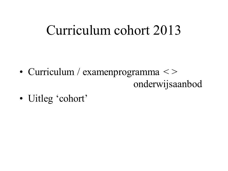 Curriculum cohort 2013 Curriculum / examenprogramma < > onderwijsaanbod Uitleg 'cohort'