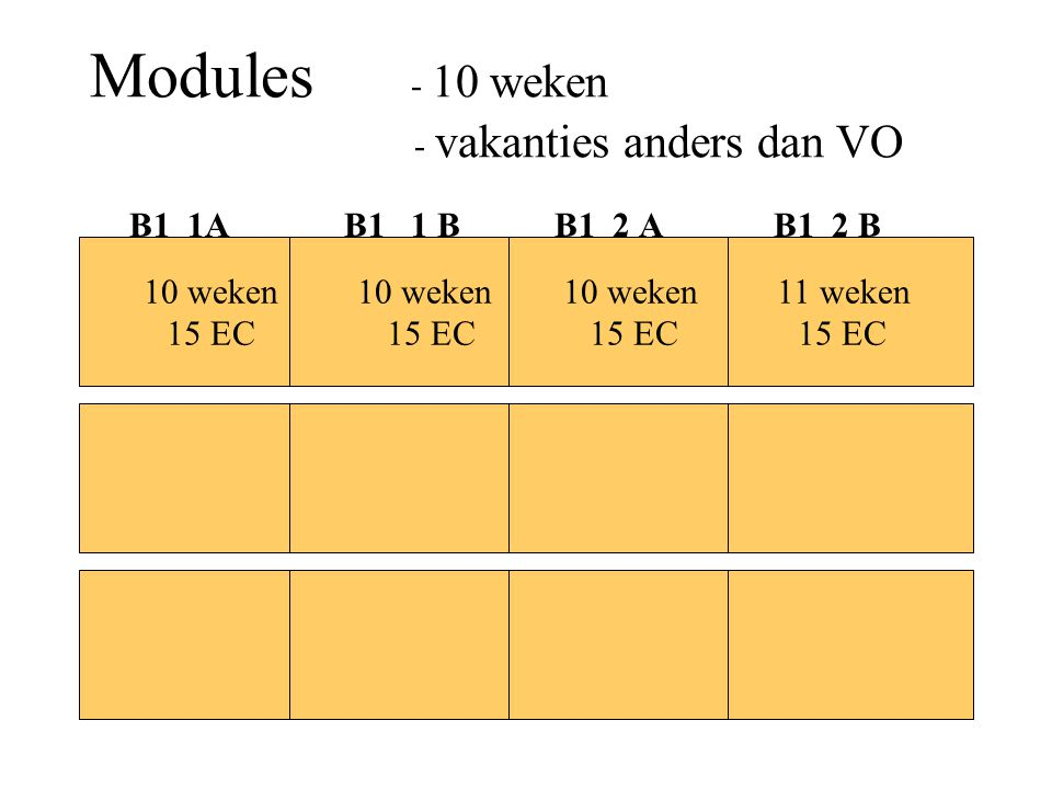 Modules - 10 weken - vakanties anders dan VO