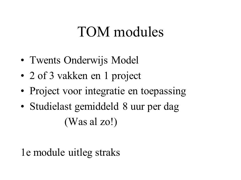 TOM modules Twents Onderwijs Model 2 of 3 vakken en 1 project