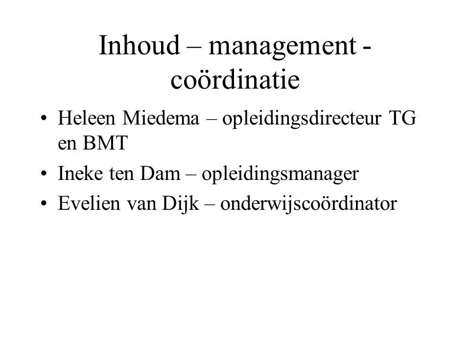 Inhoud – management - coördinatie