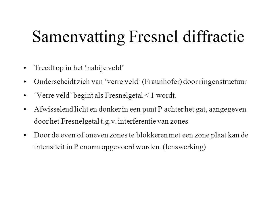 Samenvatting Fresnel diffractie