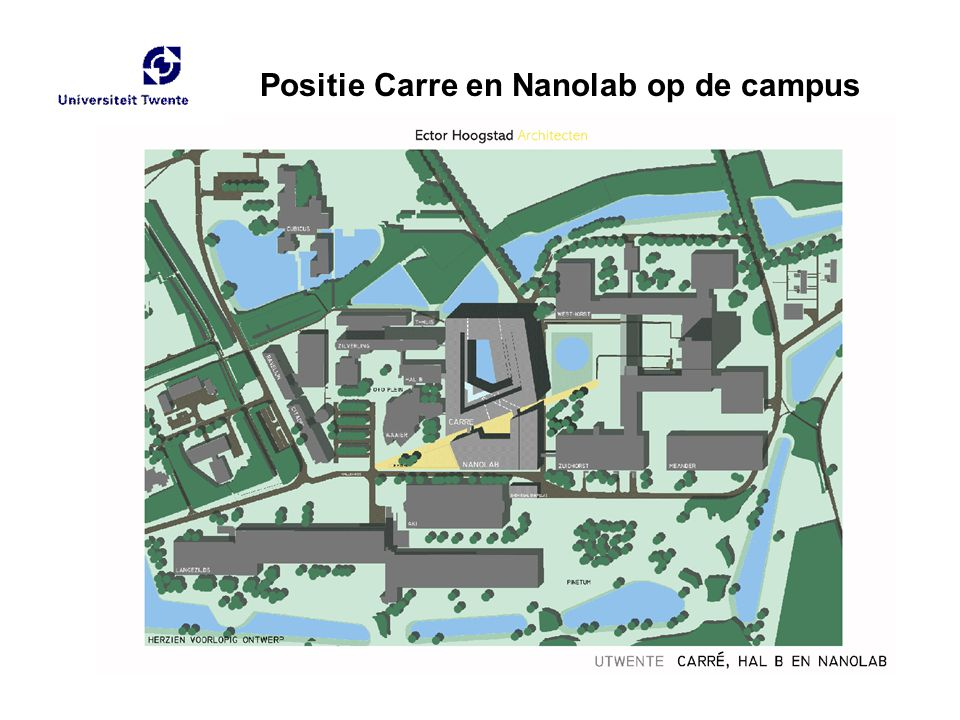 Positie Carre en Nanolab op de campus