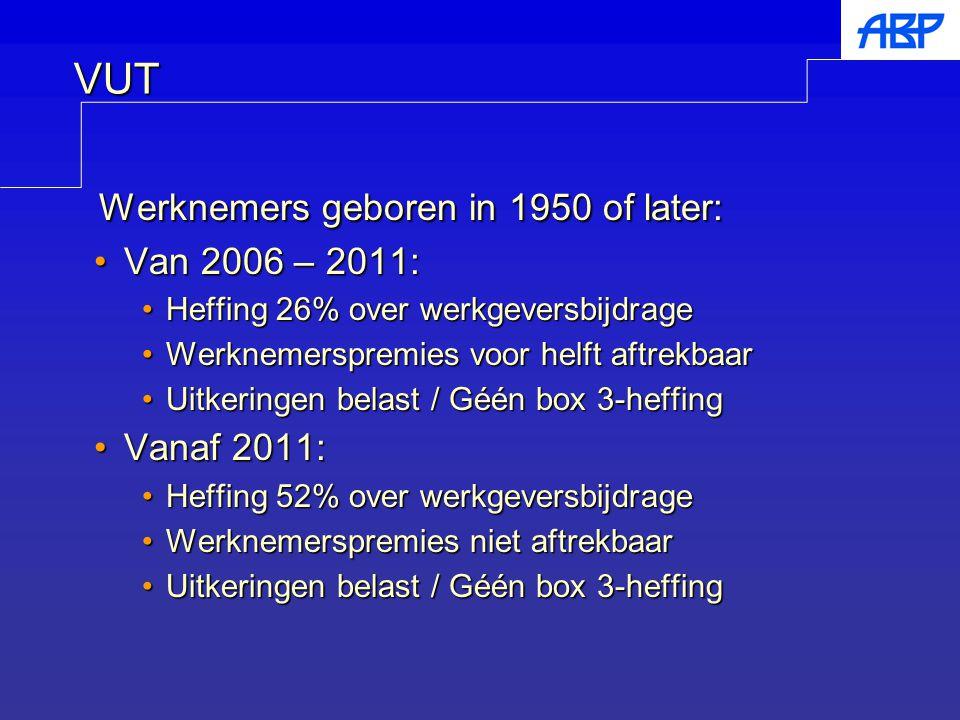 Werknemers geboren in 1950 of later: