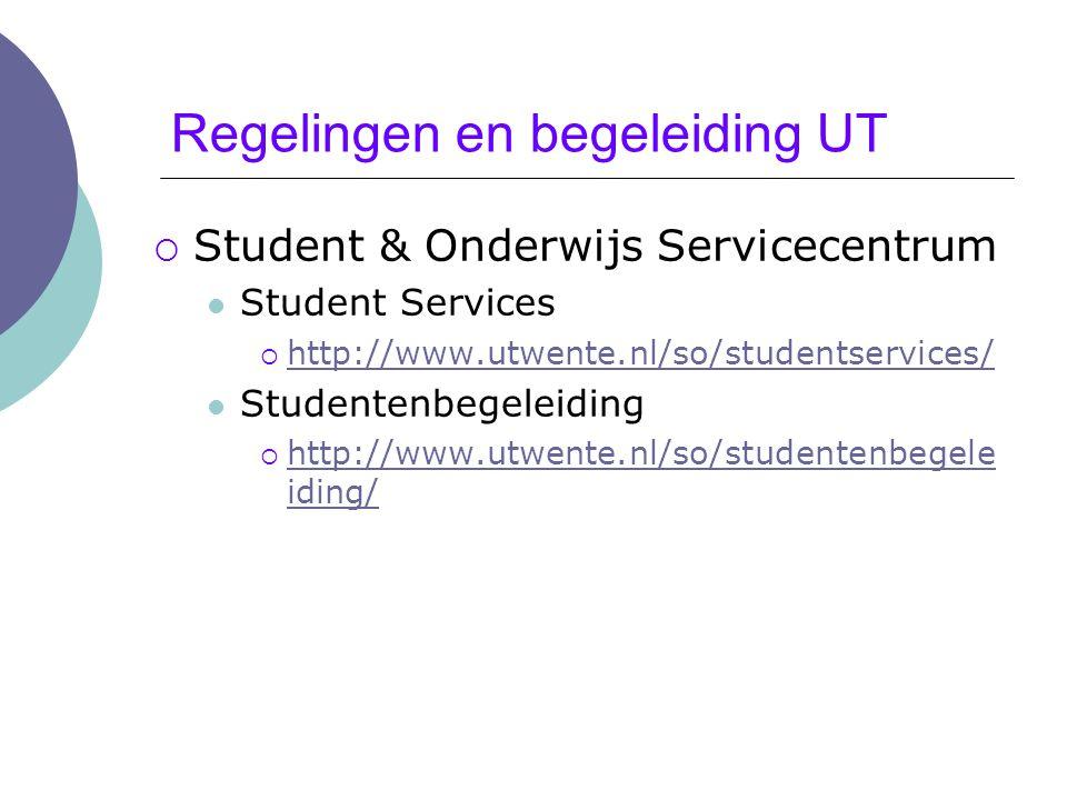 Regelingen en begeleiding UT