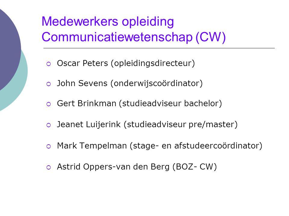 Medewerkers opleiding Communicatiewetenschap (CW)